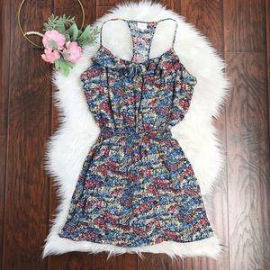 Parker Silk Floral Printed Racer Back Mini Dress